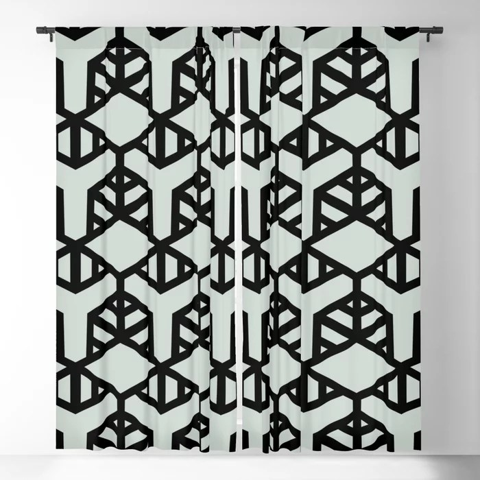 Pastel Green and Black Shape Tile Pattern 2 Pairs Behr 2022 Color of the Year Breezeway MQ3-21 Blackout Curtain. Decorating colors for 2022
