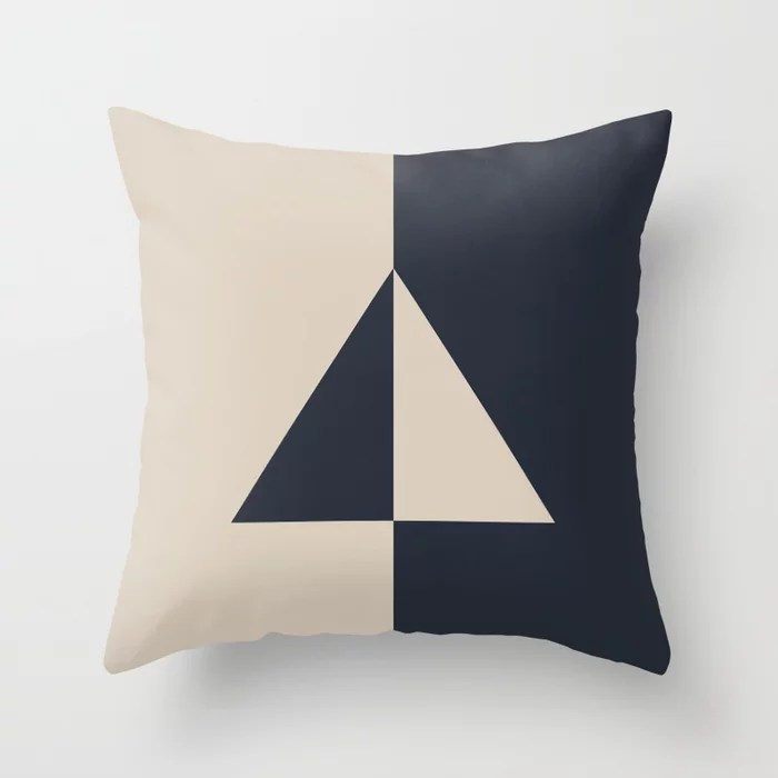 Light Beige and Blue Minimal Triangle Design: Hues were inspired by and match (pair / coordinate with) 2021 Color of the Year Uptown Ecru & Classic Navy Throw Pillow