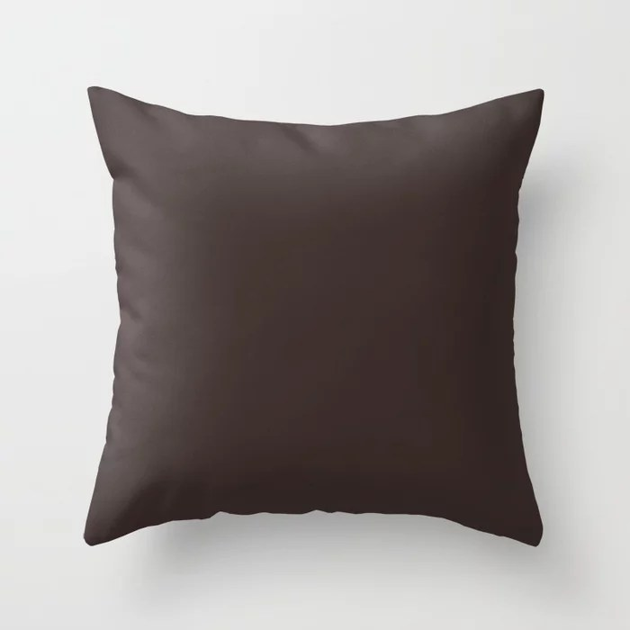 Autumn Brown Single Solid Color Pairs HGTV 2021 Color Of The Year Accent Shade Dark Bronzetone Throw Pillow