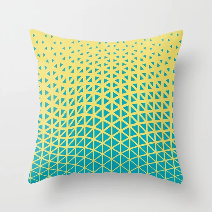 Aqua Blue Yellow Triangle Gradient Wave Pattern 2021 Color of the Year AI Aqua and Lemon Sherbet Throw Pillow