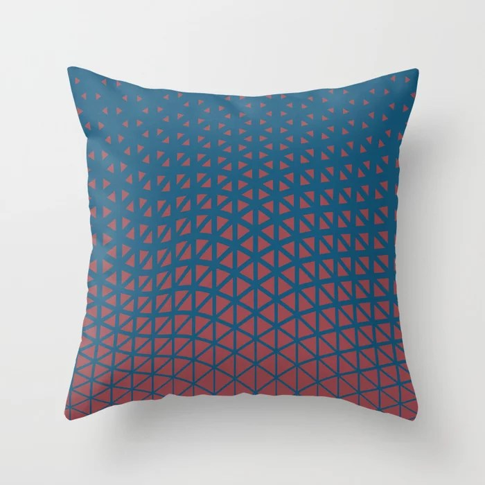 Red and Blue Geometric Triangle Wave Pattern 2021 Color of the Year Passionate and Long Horizon Throw Pillow