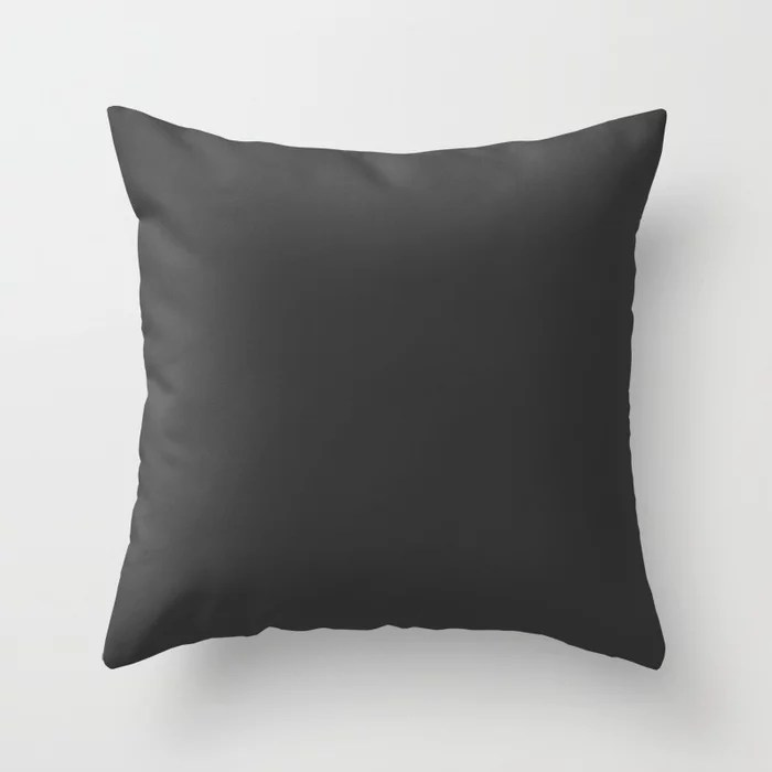 Charcoal Gray Trending Solid Color - Hue Throw Pillows inspired by and pairs to (matches / coordinates with) Dutch Boy 2021 Color of the Year Accent Shade True Black