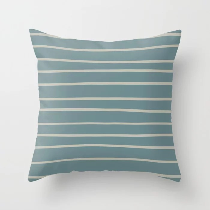 Blue-Green Tan Minimal Horizontal Line Pattern V2 2021 Color of the Year Aegean Teal and Winterwood Throw Pillow