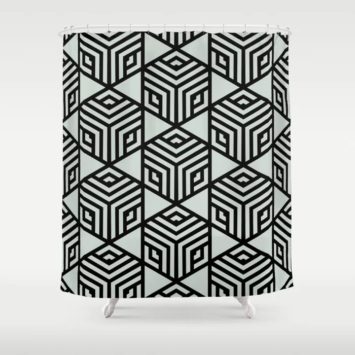 Pastel Green and Black Stripe Cube Tile Pattern Behr 2022 Color of the Year Breezeway MQ3-21 Shower Curtain. 2022 color trend