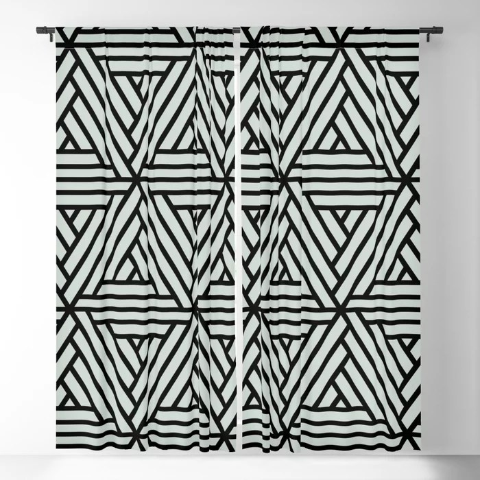 Pastel Green and Black Shape Mosaic Pattern 2 Pairs Behr 2022 Color of the Year Breezeway MQ3-21 Blackout Curtain. Color for 2022