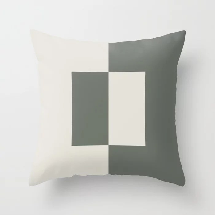 Moody Green Creamy White Minimal Square Design 2021 Color of the Year Contemplative and Whitewisp Throw Pillow