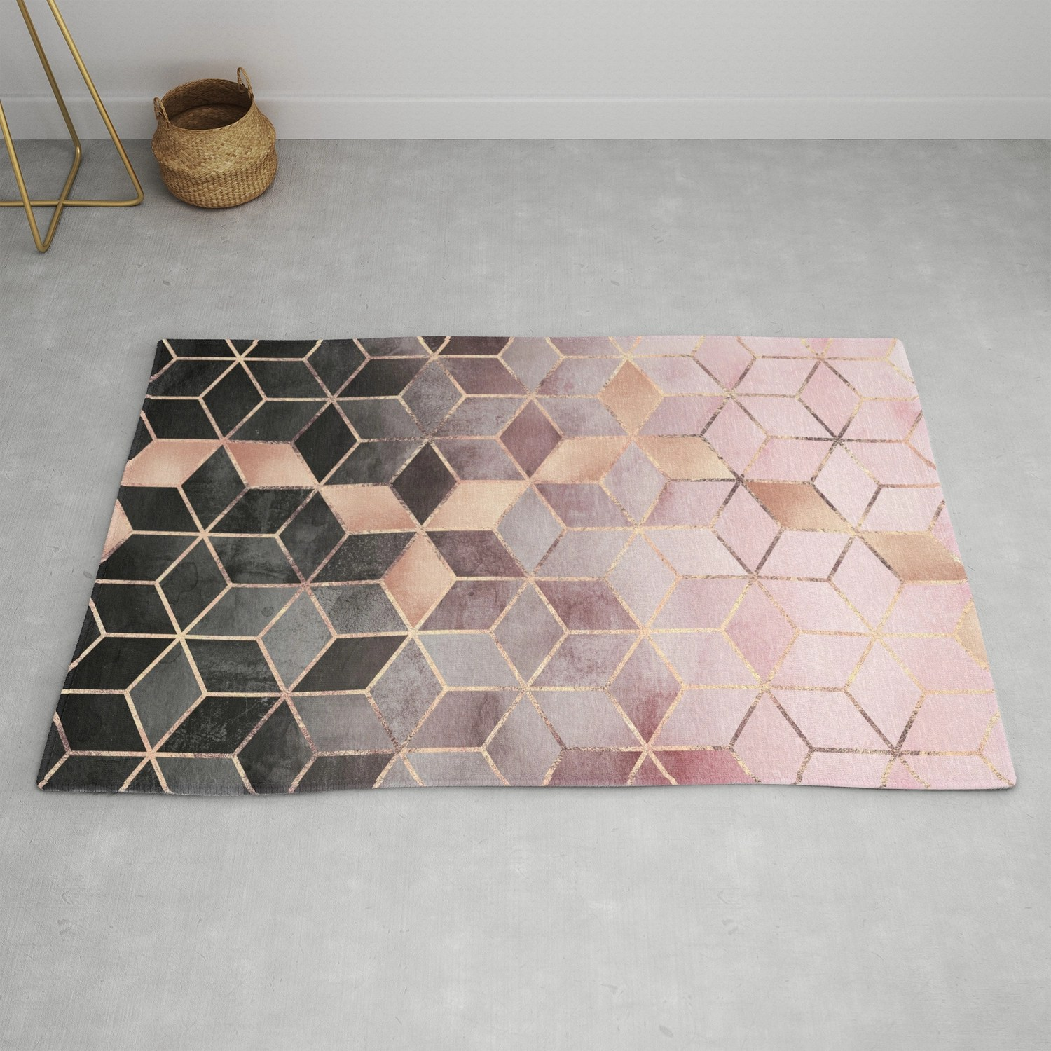 Pink And Grey Gradient Cubes Rug By Elisabethfredriksson Society6