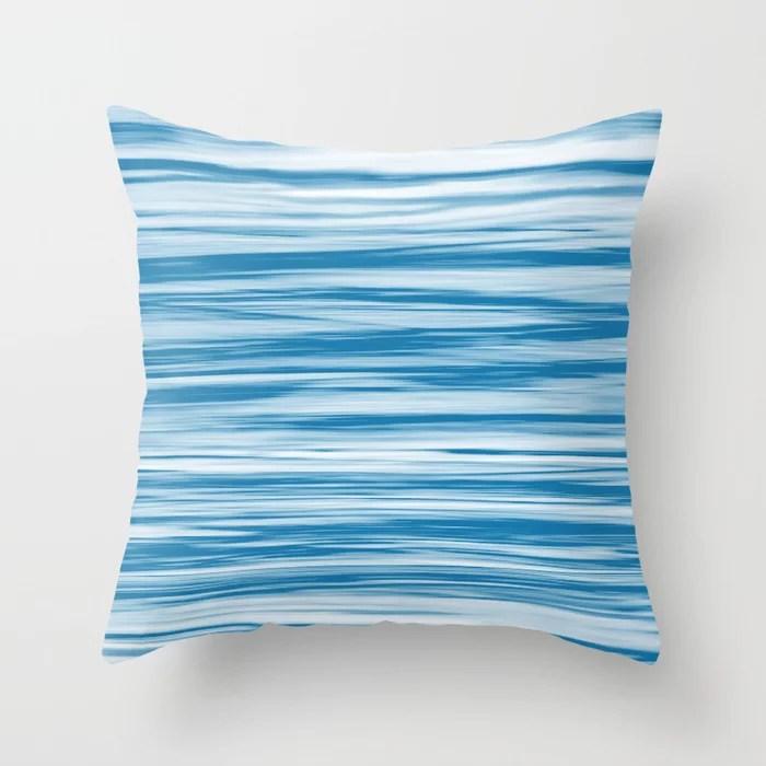 Blue Soft Focus Motion Watercolor Blend Stripes Rustoleum Satin Lagoon Throw Pillow