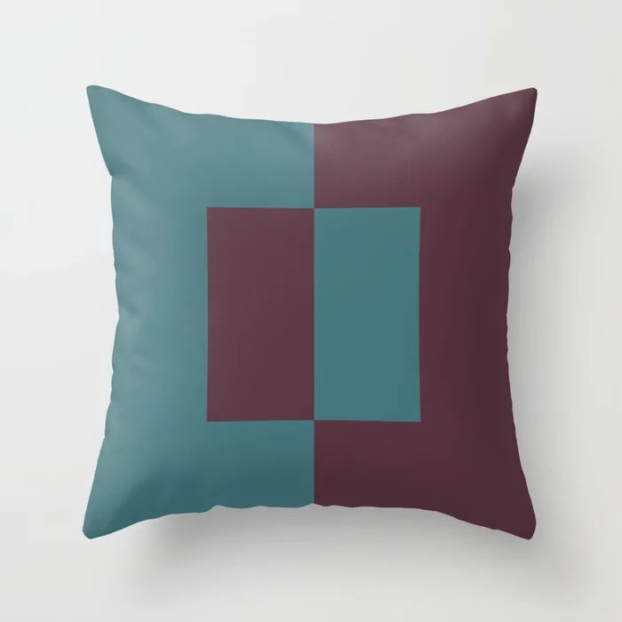 Deep Purple Aqua Minimal Square Design Throw Pillows inspired by and pairs to (matches / coordinates with) Graham and Brown 2021 Color of the Year Epoch and Whale Tail