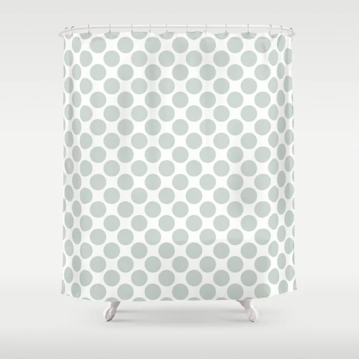 Mint Green and White Polka Dot Pattern Behr 2022 Color of the Year Breezeway MQ3-21 Shower Curtain. 2022 color trend