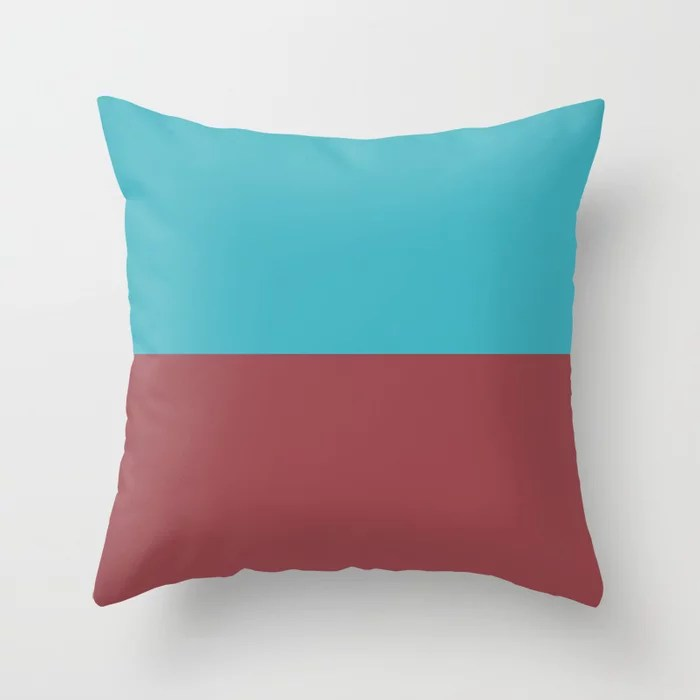 Red and Aqua Minimal Solid Color Line Pattern 2021 Color of the Year Passionate and September Skies Throw Pillow