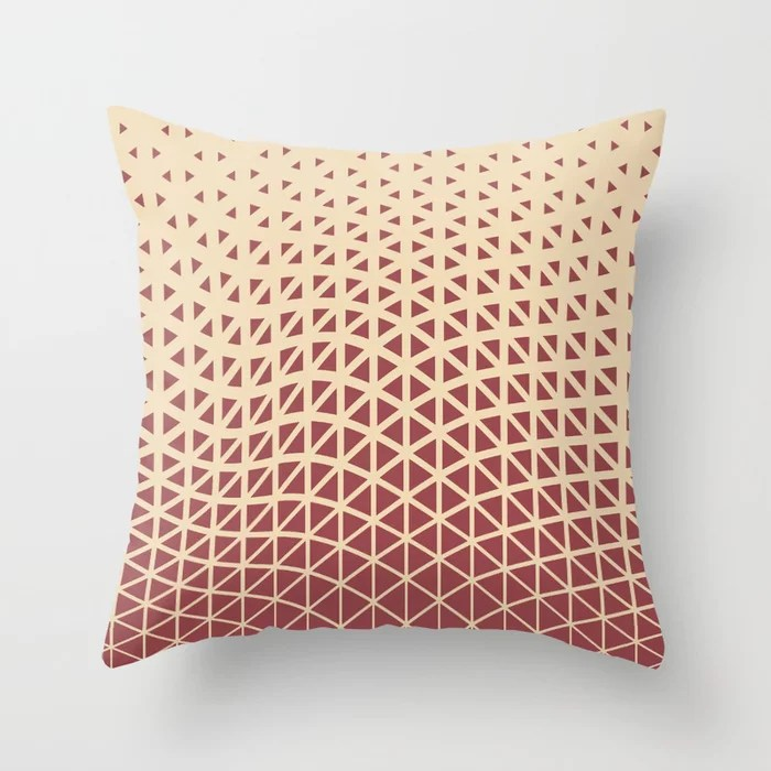 Red and Light Beige Geometric Triangle Pattern 2021 Color of the Year Passionate & Diamond Weave Throw Pillow
