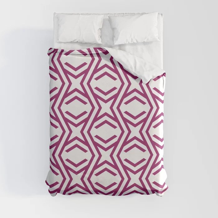 Magenta and White Zig Zag Stripe and Star Pattern - Colour of the Year 2022 Orchid Flower 150-38-31 Duvet Cover - color for 2022
