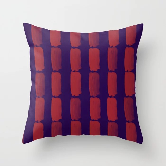 Red and Purple Grid Brushstroke Pattern 2021 Color of the Year Satin Paprika and Purple Throw Pillow