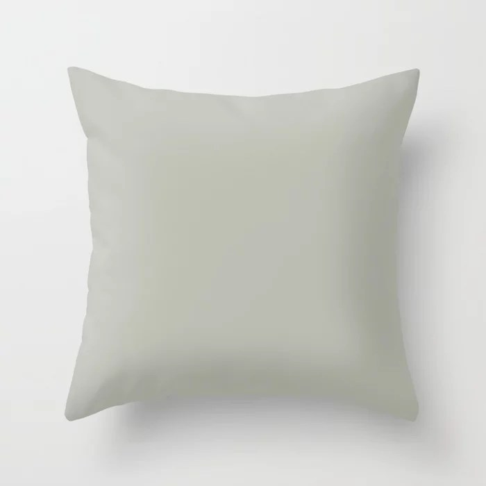 Muted Green Grey Trending Solid Color: Hue inspired by and matches (pairs / coordinates with) Jolie 2021 Color of the Year Accent Hue Eucalyptus Throw Pillow