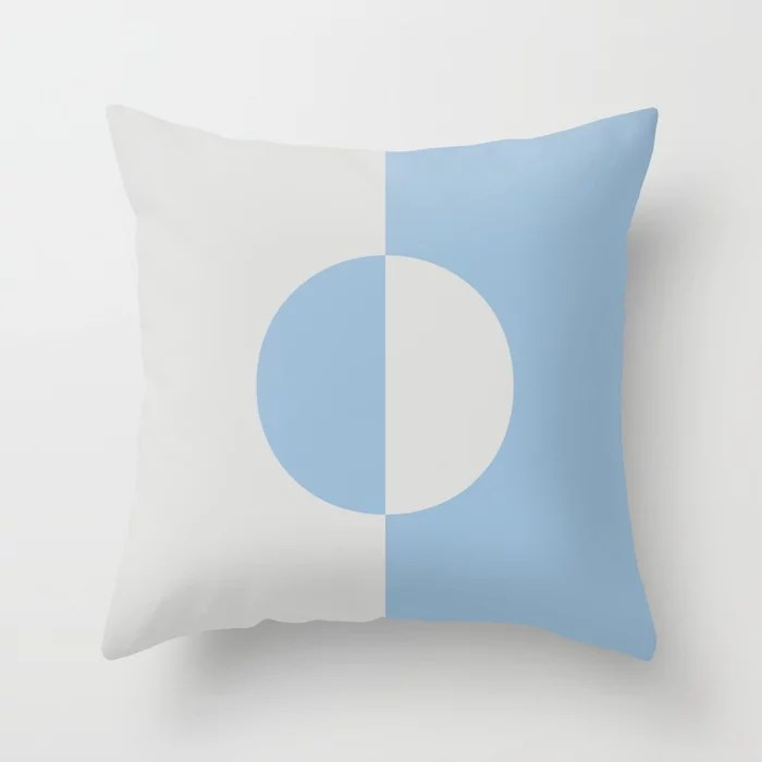 Pastel Blue and Pale Gray Minimal Circle Design Throw Pillows inspired by and pairs to (matches / coordinates with) Dutch Boy 2021 Color of the Year Earth's Harmony and Vapor