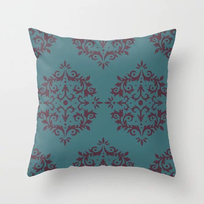 Deep Purple Aqua Damask Scroll Pattern Throw Pillows inspired by and pairs to (matches / coordinates with) Graham and Brown 2021 Color of the Year Epoch and Whale Tail