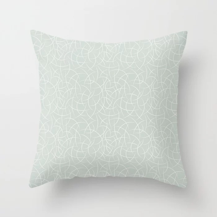 Pastel Green and Cream Crescent Shape Pattern Pairs Behr 2022 Color of the Year Breezeway MQ3-21 Throw Pillow. 2022 color scheme, trending interior design hue.