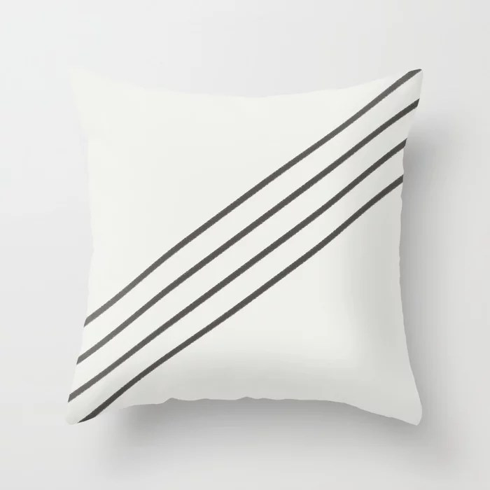 Brown and White Minimal Thin 4 Stripe Pattern 2021 Color of the Year Urbane Bronze and Extra White Throw Pillow