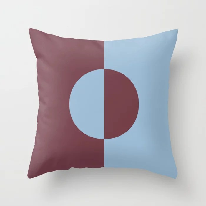 Pastel Blue and Burgundy Minimal Circle Design Throw Pillows inspired by and pairs to (matches / coordinates with) Dutch Boy 2021 Color of the Year Earth's Harmony and Mulberry Tree