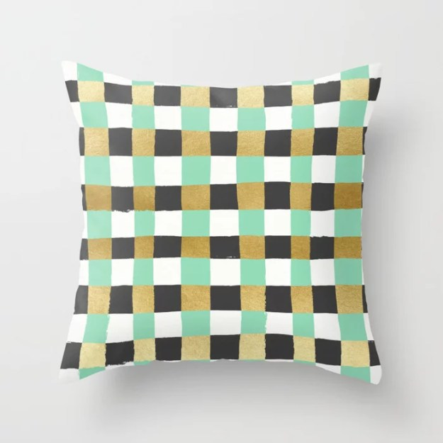 Panted Gingham - Mint Throw Pillow by Jess Phoenix