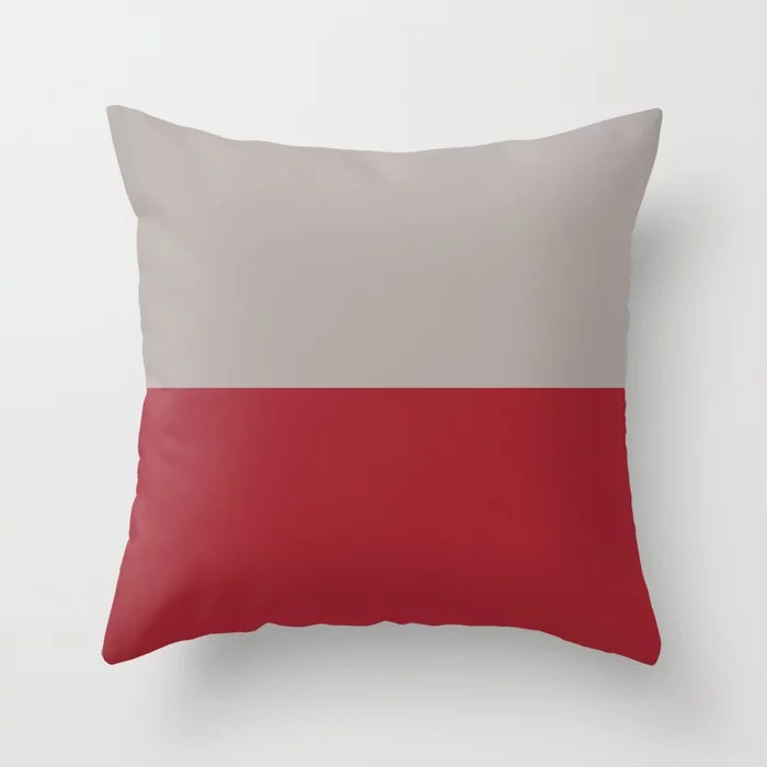 Red and Gray Minimal Line Pattern 2021 Color of the Year Satin Paprika and Satin Driftwood Throw Pillow