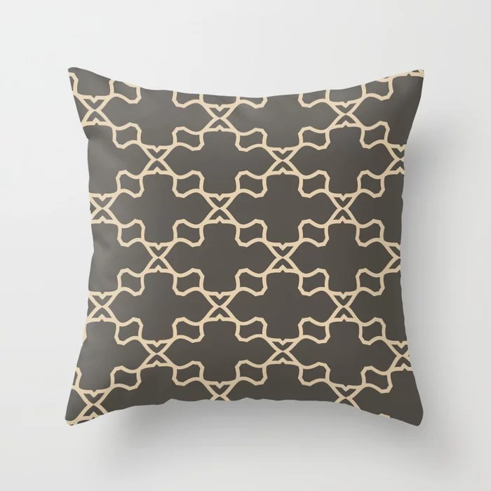 Brown and Tan Ornamental Shape Pattern 3 Throw Pillows match and coordinate with Sherwin Williams Paints 2021 Color of the Year Urbane Bronze and Ivoire