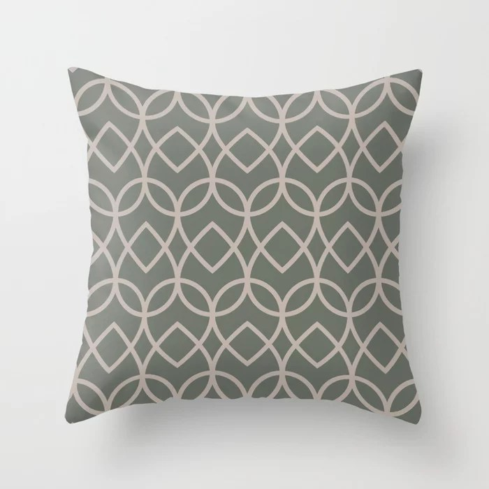 Green Neutral Beige Geometric Teardrop Pattern 2021 Color of the Year Contemplative and Stucco Throw Pillow