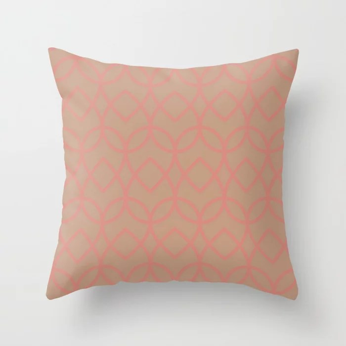 Sandstorm Beige Pastel Pink Teardrop Pattern 2021 Color Of The Year Canyon Dusk Indian Sunset Throw Pillow