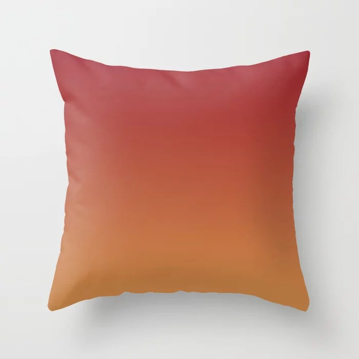 Red and Orange-Brown Gradient Ombre Blend 2021 Color of the Year Satin Paprika & Satin Warm Caramel Throw Pillow