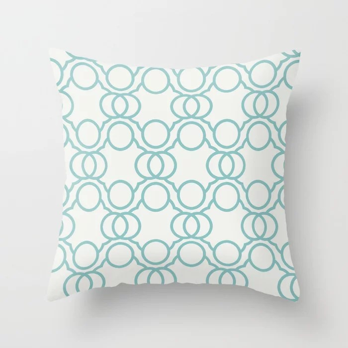 Aquamarine Geometric Circle Pattern 2021 Color of the Year Aqua Fiesta and Delicate White Throw Pillow