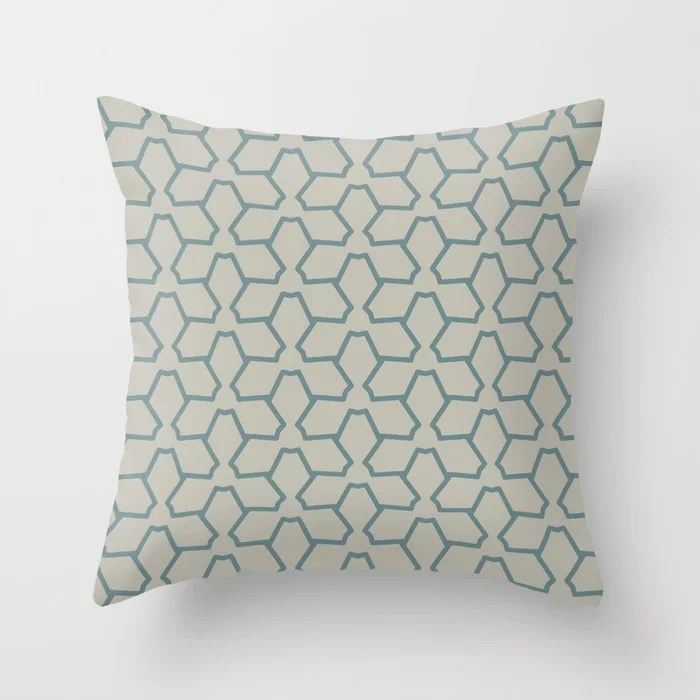 Blue-Green Tan Line Pattern 12 Abstract Flower V2 2021 Color of the Year Aegean Teal and Winterwood Throw Pillow