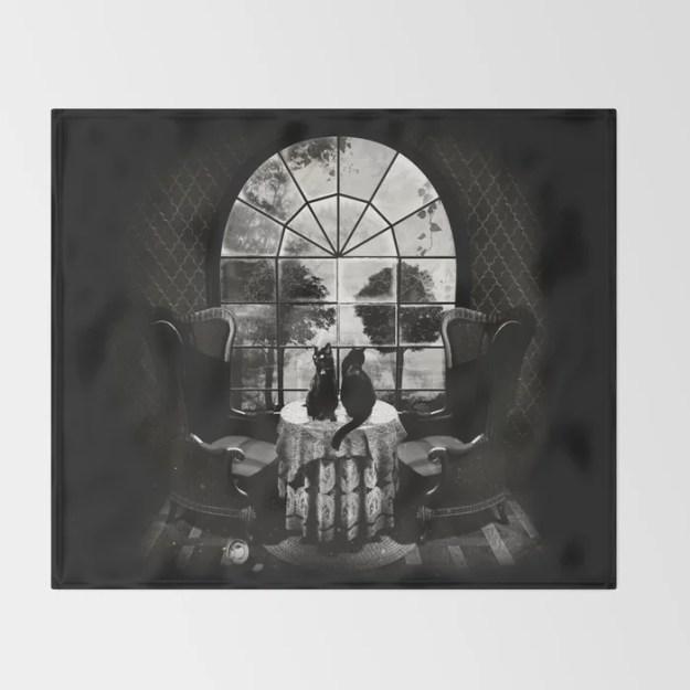 Room Skull B&W Throw Blanket by Ali GULEC