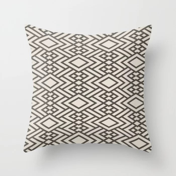 Brown & Cream Geometric Art Deco Diamond Pattern Throw Pillows Match and coordinate with Sherwin Williams Paints 2021 Color of the Year Urbane Bronze Shoji White