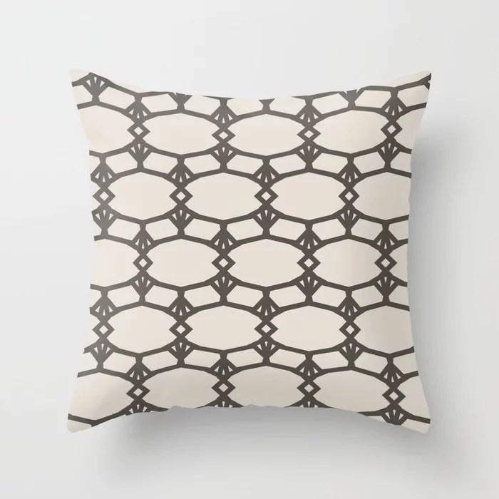 Dark Brown Cream Ornamental Shape Pattern 5 2021 Color of the Year Urbane Bronze and Shoji White Throw Pillow