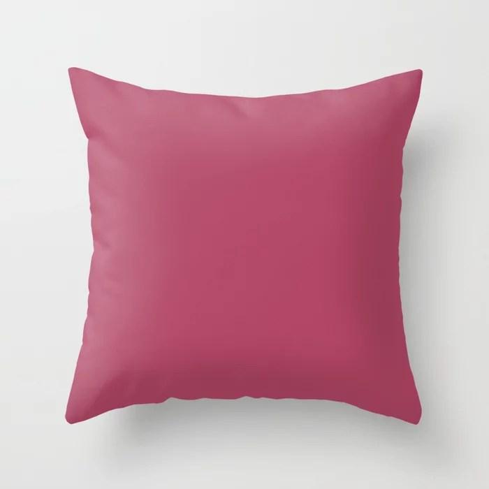 Dunn & Edwards 2019 Trending Colors Sangria (Pink) DE5041 Solid Color Throw Pillow