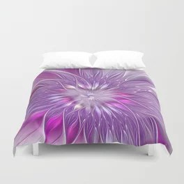 Pink Flower Passion, Abstract Fractal Art Duvet Cover