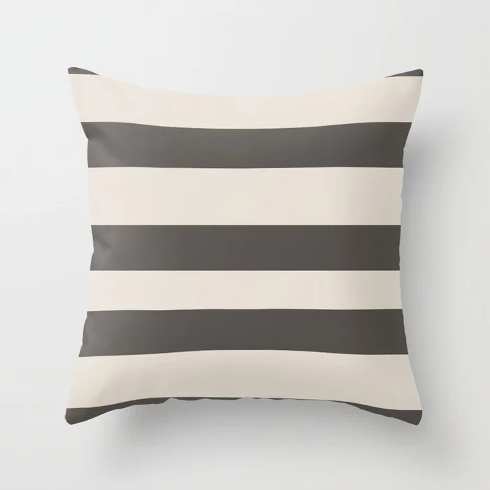 Brown and Cream Wide Horizontal Line Pattern Throw Pillows match and coordinate with Sherwin Williams Paints 2021 Color of the Year Urbane Bronze and Shoji White