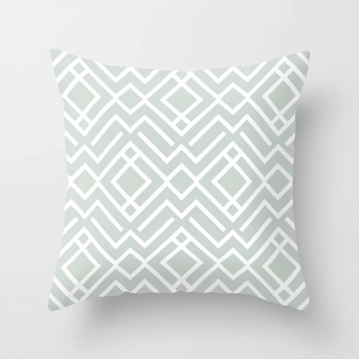 Pastel Green and White Diamond Shape Pattern Pairs Behr 2022 Color of the Year Breezeway MQ3-21 Throw Pillow. 2022 color scheme, trending interior design hue.