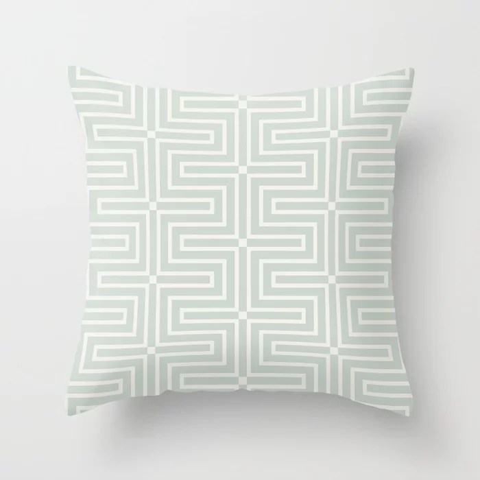 Mint Green and Cream Tessellation Line Pattern 3 Behr 2022 Color of the Year Breezeway MQ3-21 Throw Pillow. 2022 color scheme, trending interior design hue.