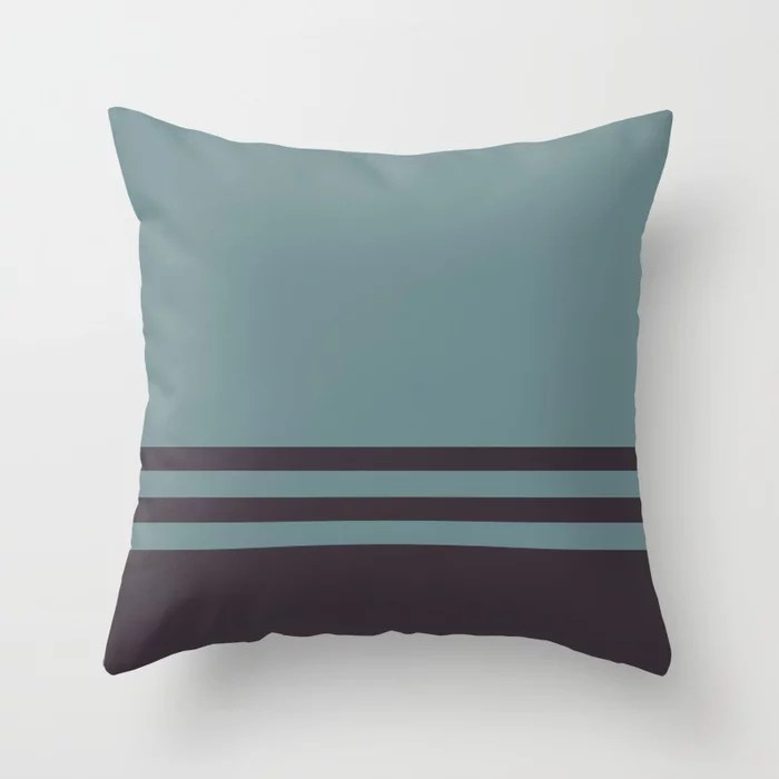 Blue-Green Purple Horizontal Stripe Pattern 2021 Color of the Year Aegean Teal and Tulsa Twilight Throw Pillow