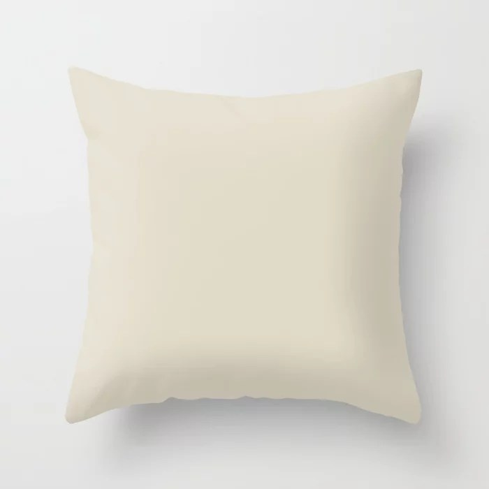 Neutral Buff Tan Solid Color Pairs To Pratt and Lambert 424A Bleached Pebble Throw Pillow