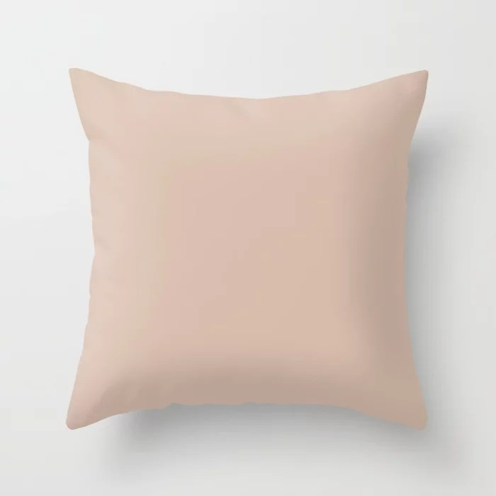 Sheer Pastel Pink Solid Color Accent Shade / Hue Matches Sherwin Williams Classic Sand SW 0056 Throw Pillow