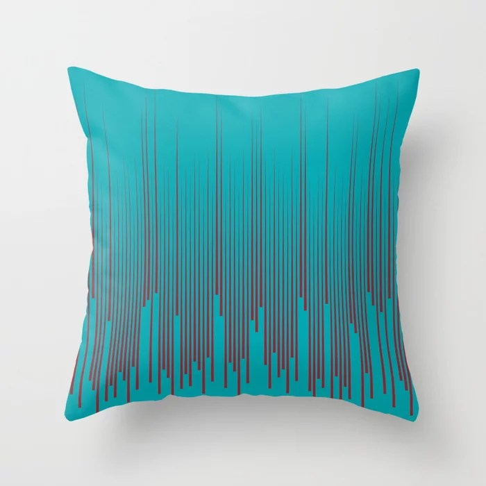 Red and Aqua Minimal Frequency Line Art Pattern 2021 Color of the Year Satin Paprika & Vintage Teal Throw Pillow