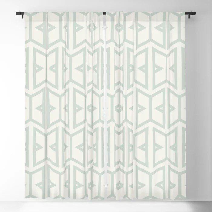 Mint Green and Cream Art Deco Shape Pattern Behr 2022 Color of the Year Breezeway MQ3-21 Blackout Curtain. Color for 2022