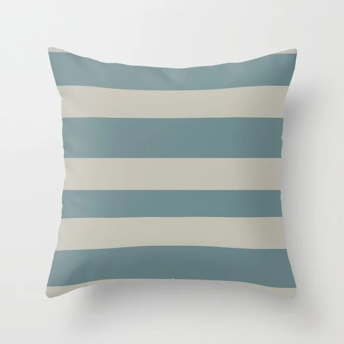 Blue-Green Tan Minimal Horizontal Line Pattern 2021 Color of the Year Aegean Teal and Winterwood Throw Pillow