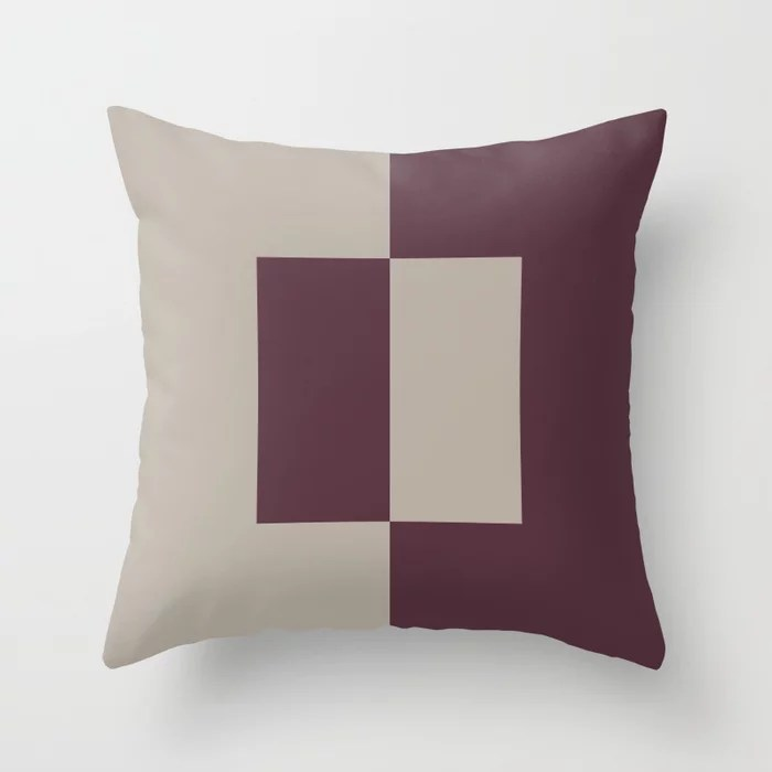 Deep Purple Gray Taupe Minimal Square Design Throw Pillows inspired by and pairs to (matches / coordinates with) Graham and Brown 2021 Color of the Year Epoch and Fondue