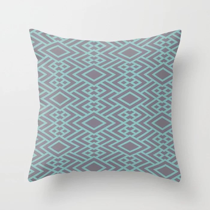 Pastel Teal and Purple Art Deco Line Pattern 2021 Color of the Year Aqua Fiesta and Magic Dust Throw Pillow