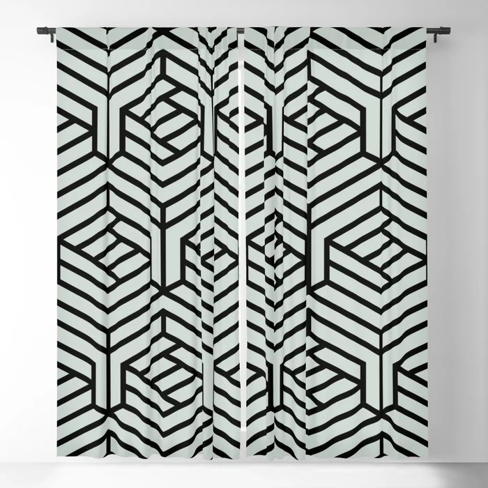 Pastel Green and Black Geometric Shape Pattern Pairs Behr 2022 Color of the Year Breezeway MQ3-21 Blackout Curtain. Decorating colors for 2022