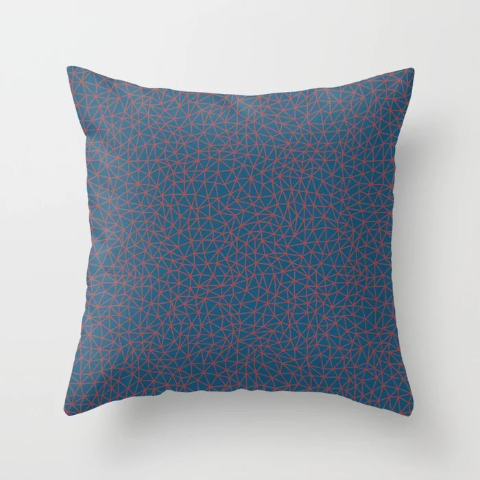 Red and Blue Triangle Shape Pattern 2021 Color of the Year Passionate and Long Horizon Throw Pillow